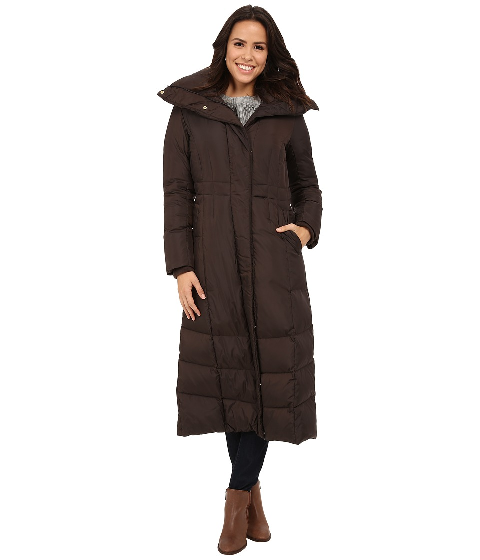 Cole Haan - Down Coat with Oversized Collar (Chocolate) Women