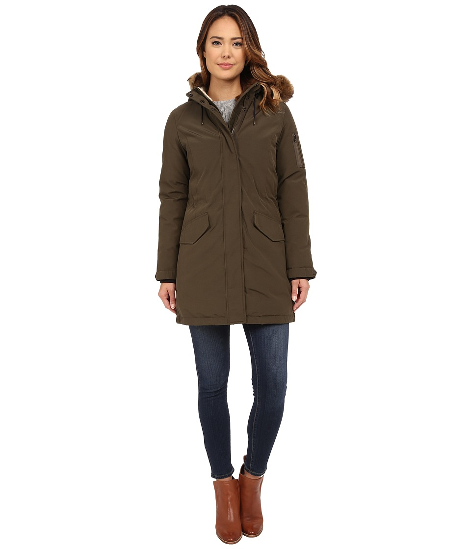Cole Haan Down Parka with Sherpa Faux Fur Hood Lining (Fatigue) Women
