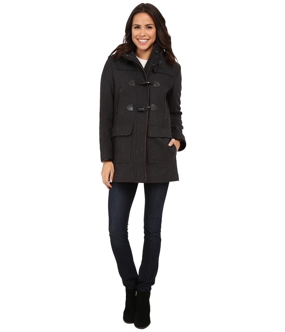 Cole Haan - Hooded Duffle Coat (Charcoal) Women's Coat