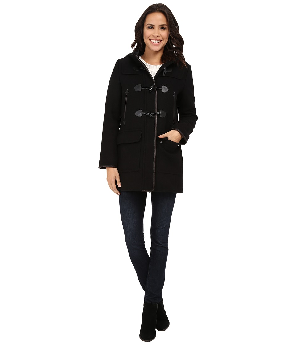Cole Haan - Hooded Duffle Coat (Black) Women's Coat