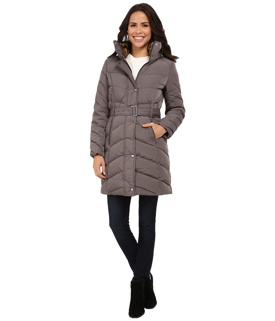 Cole Haan - Single Breasted Belted Down Coat (Carbon) Women's Coat