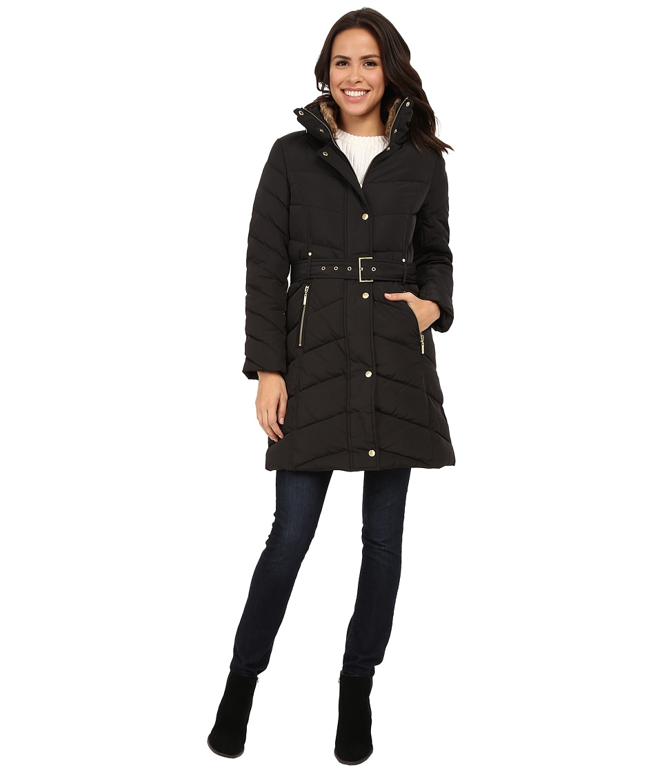 Cole Haan - Single Breasted Belted Down Coat (Black) Women's Coat