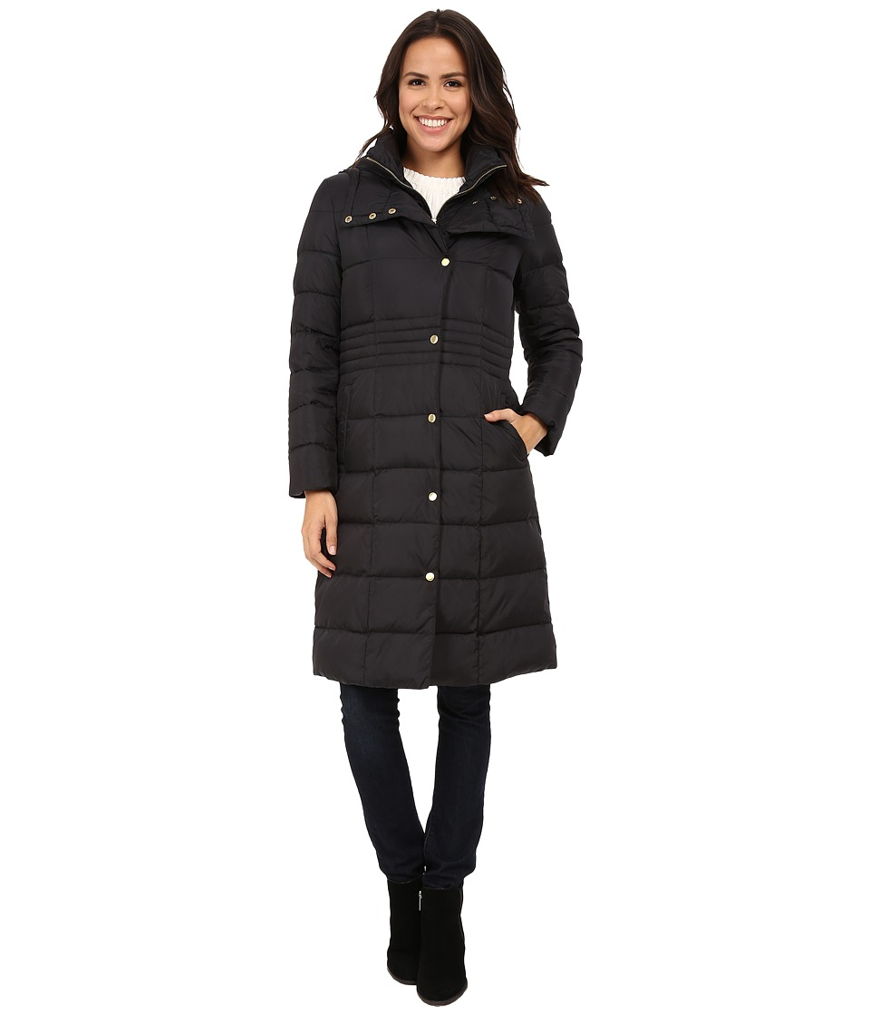 Cole Haan - Long Down Coat with Bib (Black) Women's Coat