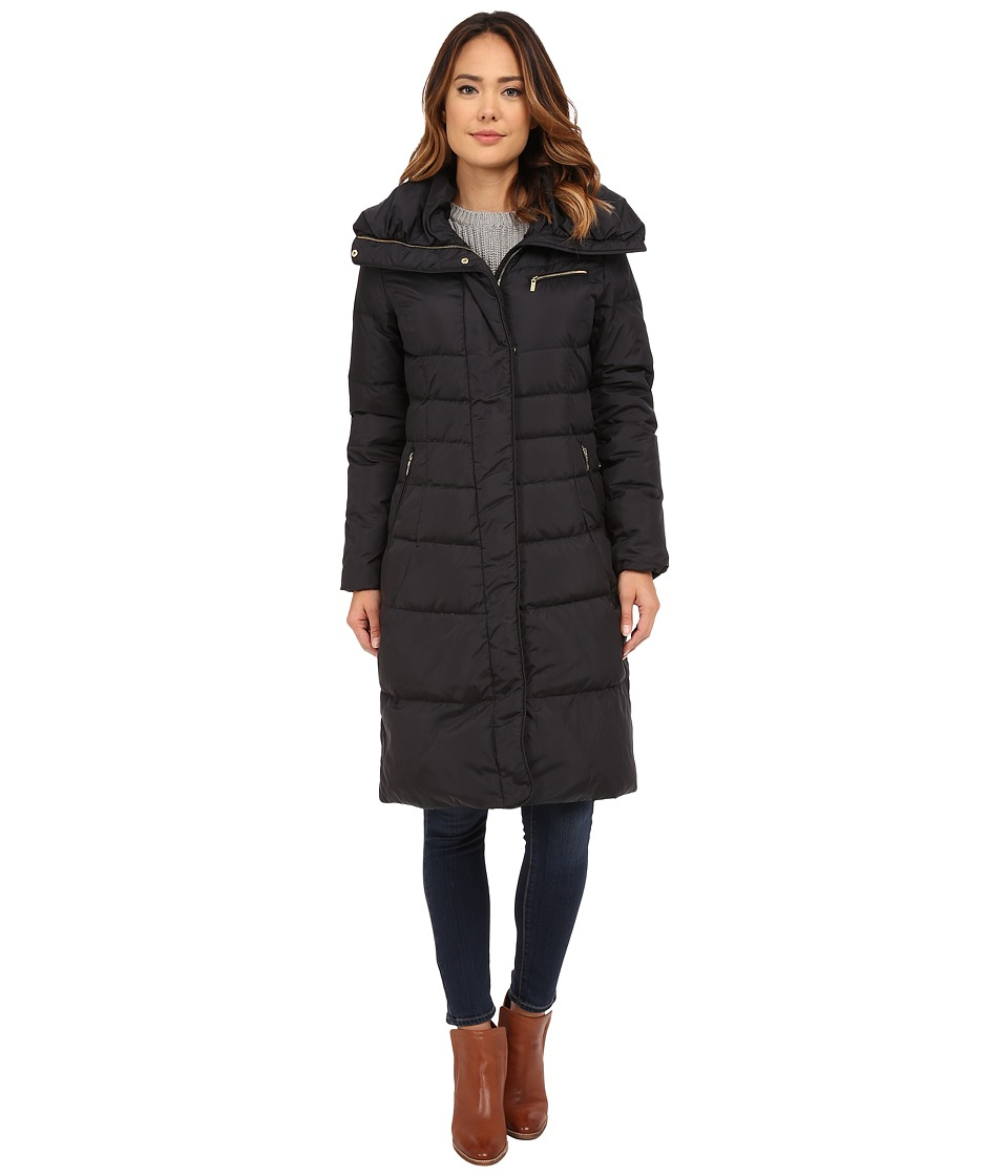 Cole Haan - Single Breast Down Coat with Asymmetrical Snap Placket (Black) Women's Coat