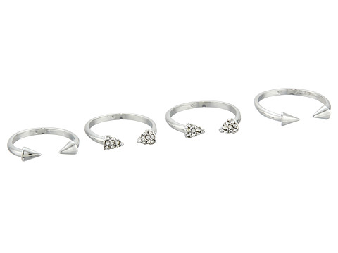 Vince Camuto - Four Piece Open Triangle Ring Set (Light Rhodium/Crystal) Ring