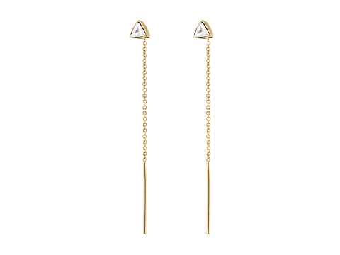 Vince Camuto - Pull Through Triangle Stone Stud Earrings (Gold/Crystal) Earring
