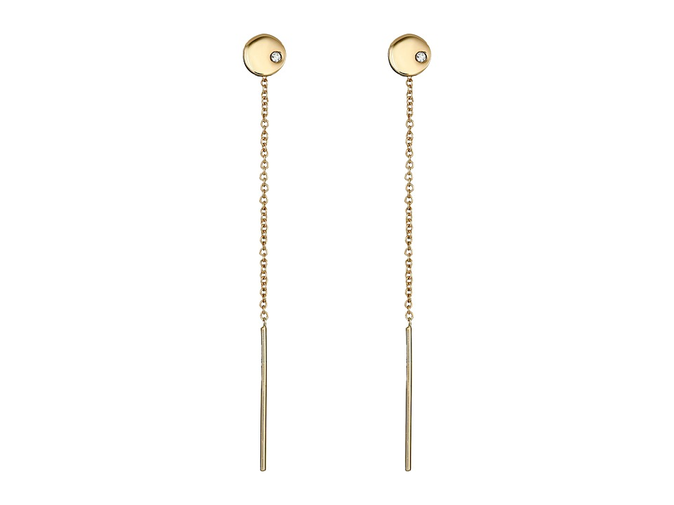 Vince Camuto - Pull Through Flat Circle Stud Earrings (Gold/Crystal) Earring