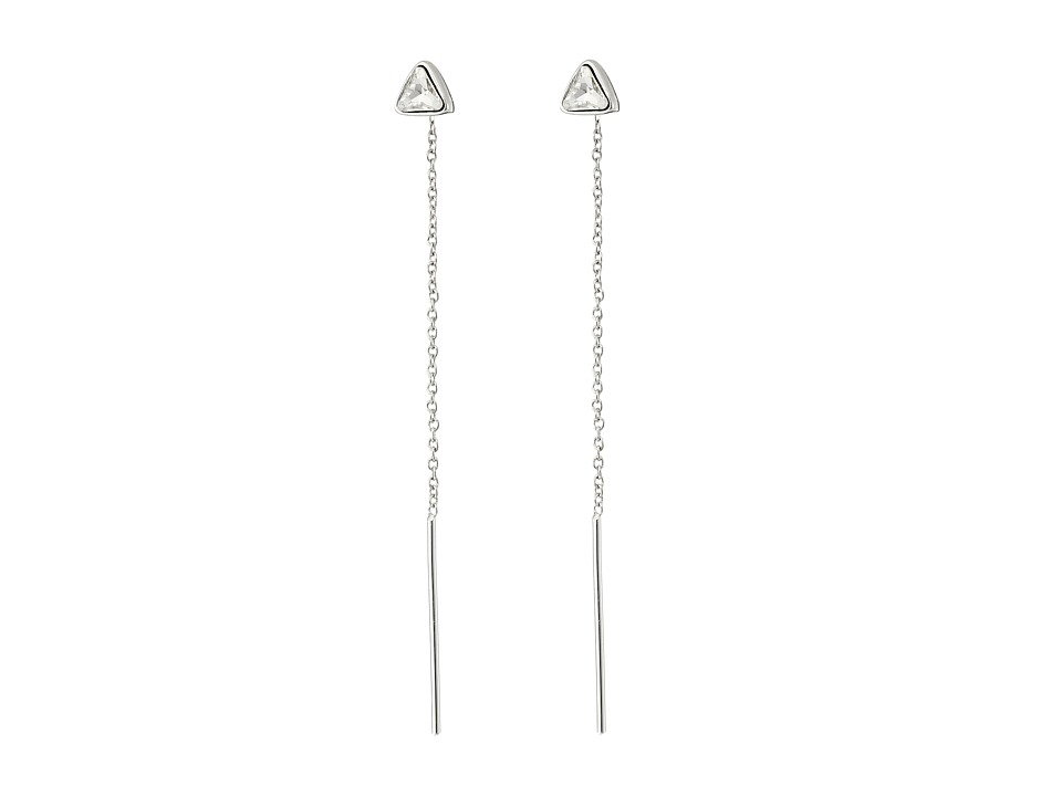 Vince Camuto - Pull Through Triangle Stone Stud Earrings (Light Rhodium/Crystal) Earring