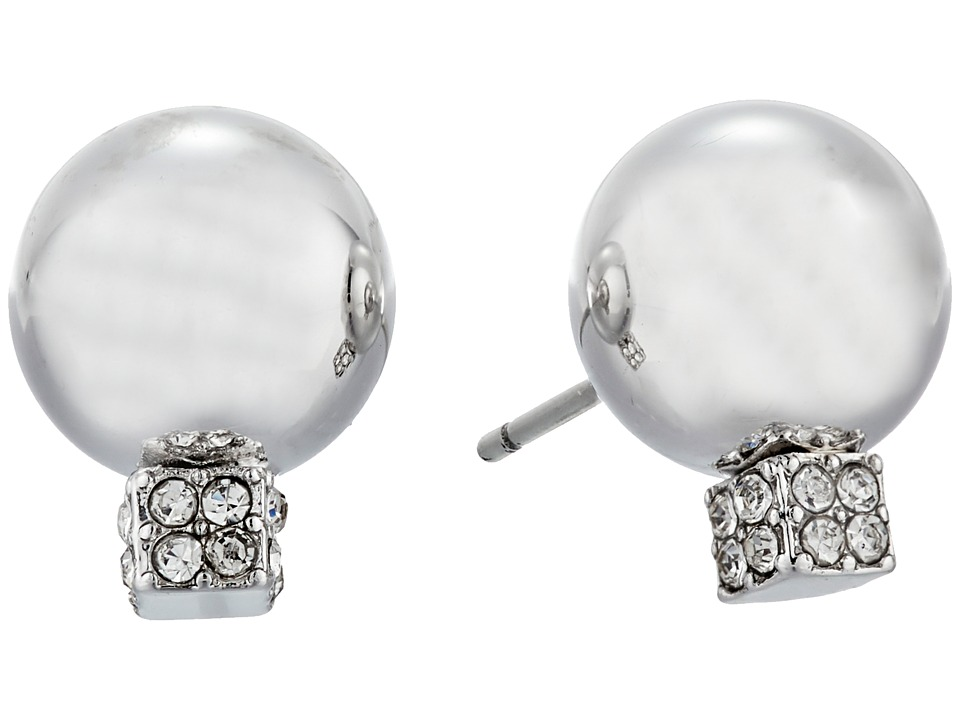 Vince Camuto - Pave Ball Stud w/ Cry Earrings (Light Rhodium/Crystal) Earring