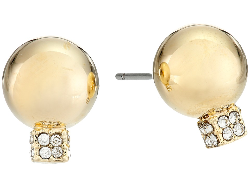 Vince Camuto - Pave Ball Stud w/ Cry Earrings (Gold/Crystal) Earring