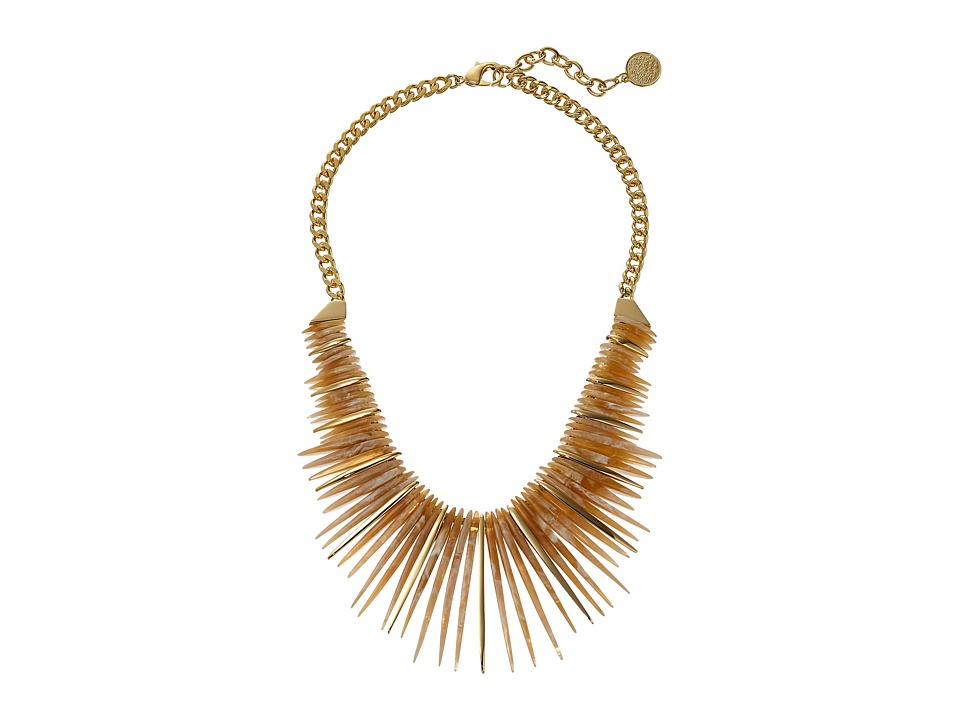 Vince Camuto - 18 Resin Horn Drama Necklace (Gold/Natural) Necklace