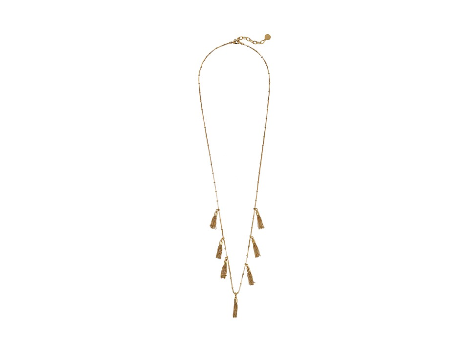 Vince Camuto - Beaded Tassel Fringe Necklace (Gold) Necklace