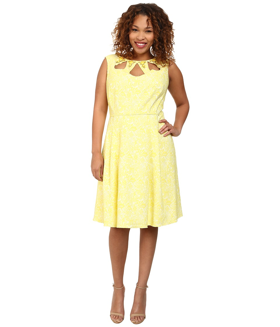 Adrianna Papell - Plus Size Cutout and Embellished Neckline Fit Flare Dress (Yellow) Women's Dress
