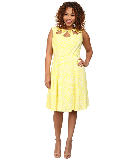 Adrianna Papell - Plus Size Cutout and Embellished Neckline Fit Flare Dress (Yellow) Women