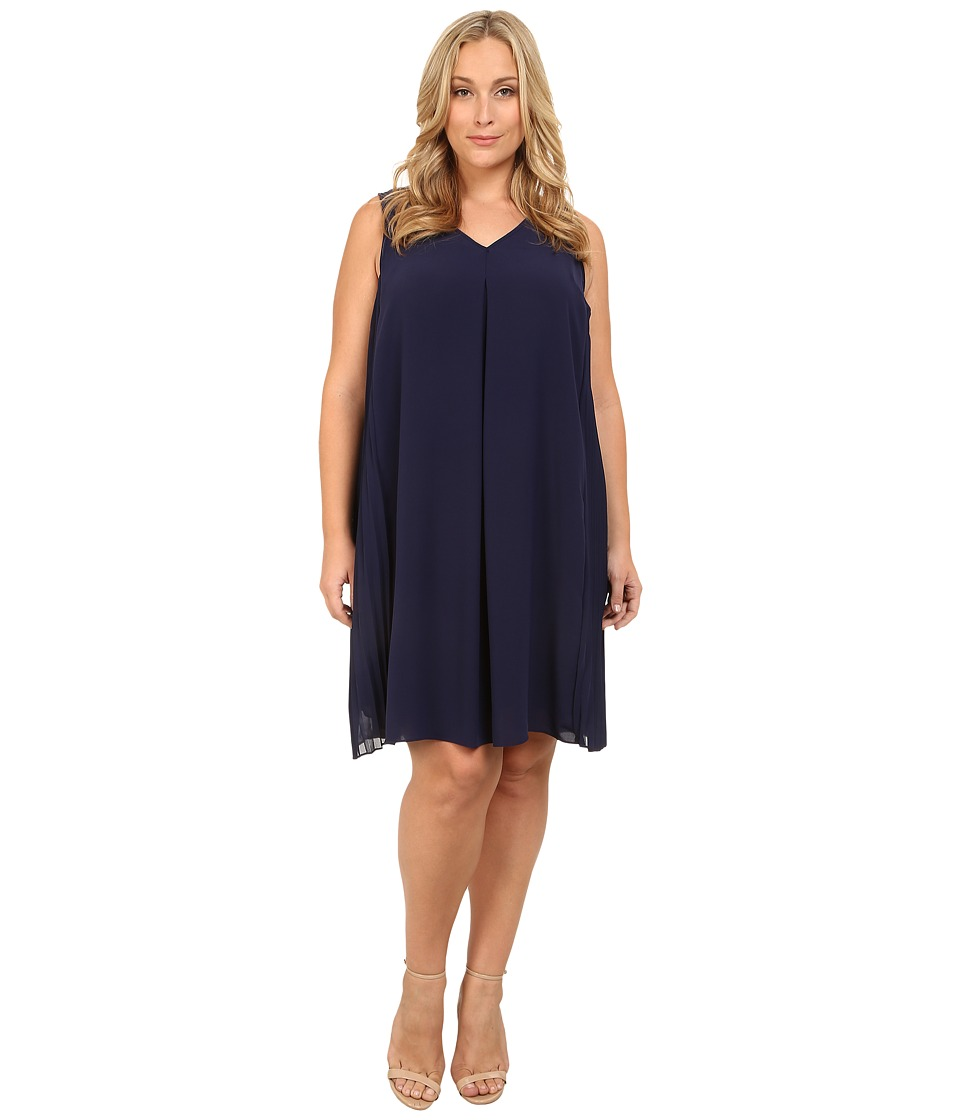Adrianna Papell - Plus Size A-Line Dress w/ Side Pleated Panels (Ink) Women