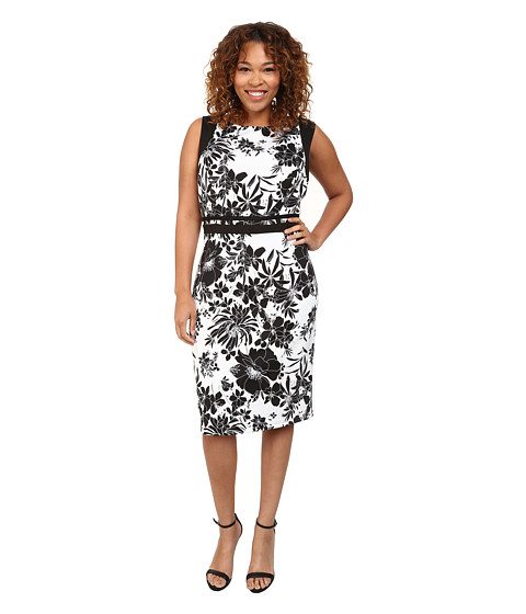 Adrianna Papell - Plus Size Geo Cutout Back Contrast Floral Scuba Dress (Black/Ivory) Women