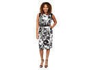 Plus Size Geo Cutout Back Contrast Floral Scuba Dress