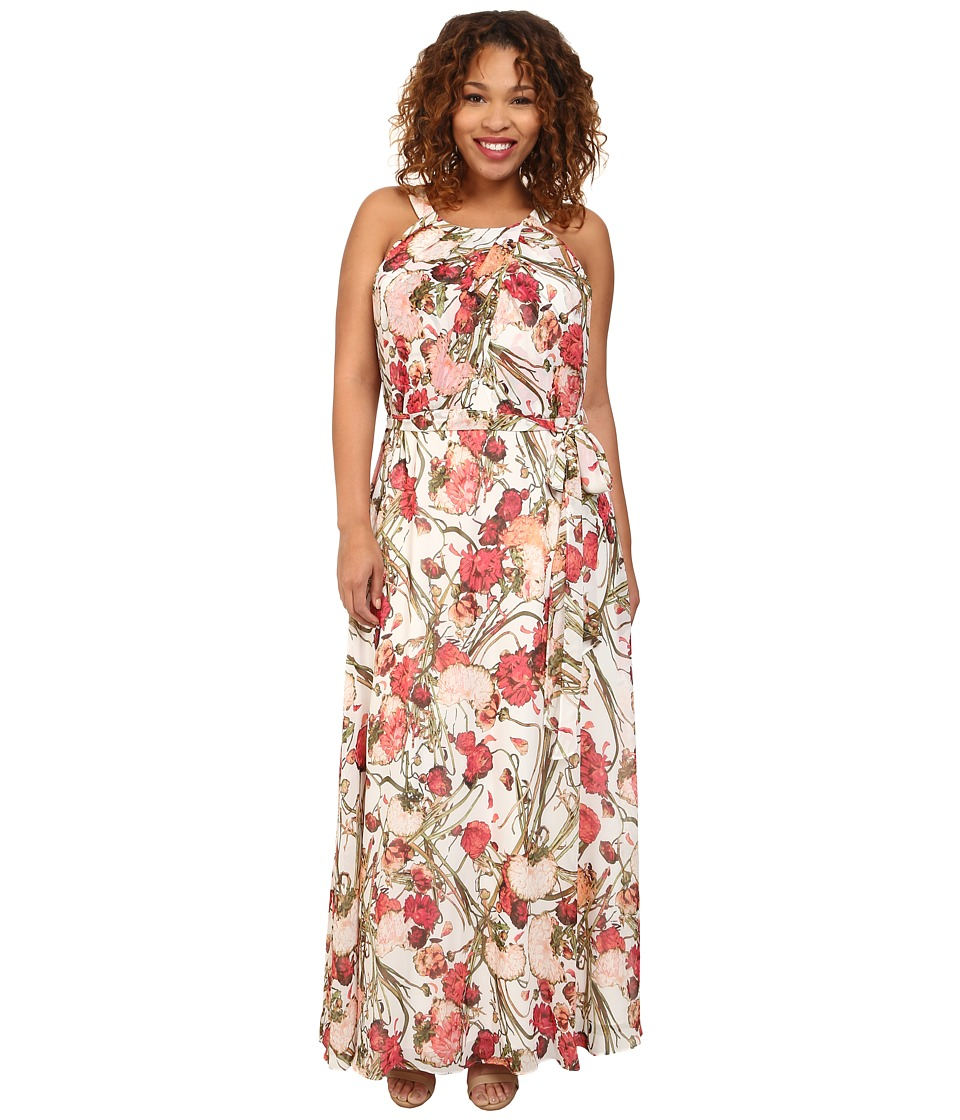 Adrianna Papell - Plus Size Crossover Drape Halter Printed Maxi Dress (Coral Multi) Women
