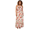 Plus Size Crossover Drape Halter Printed Maxi Dress
