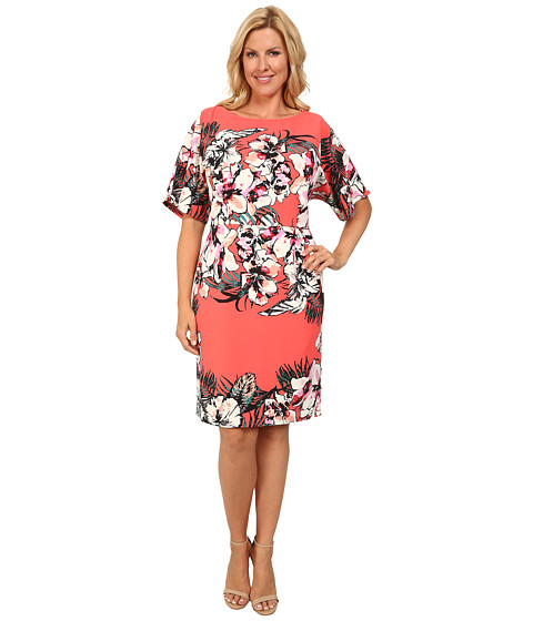 Adrianna Papell - Plus Size Dolman Sleeve Placed Tropical Print Sheath Dress (Coral Multi) Women