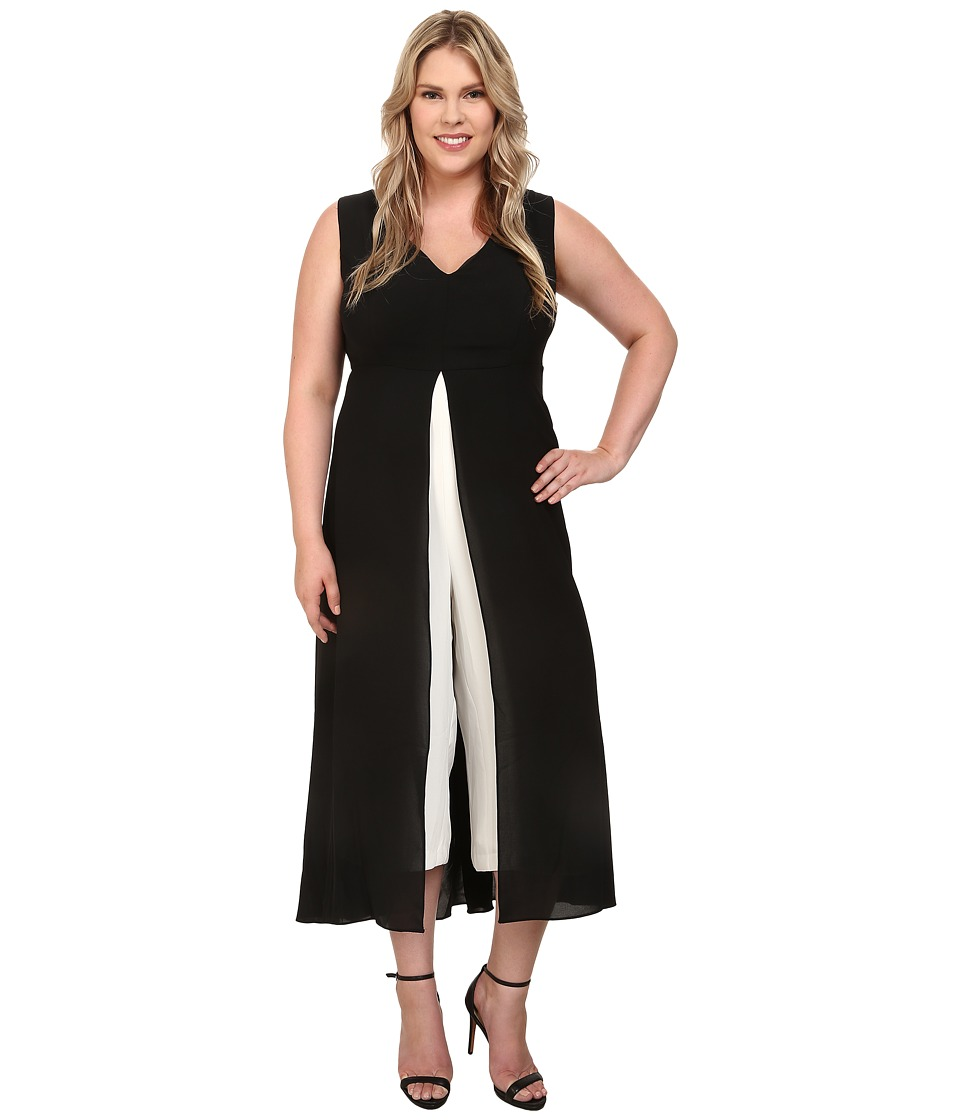 Adrianna Papell - Plus Size Color Blocked Overlay Jumpsuit (Black/Ivory) Women's Jumpsuit & Rompers One Piece