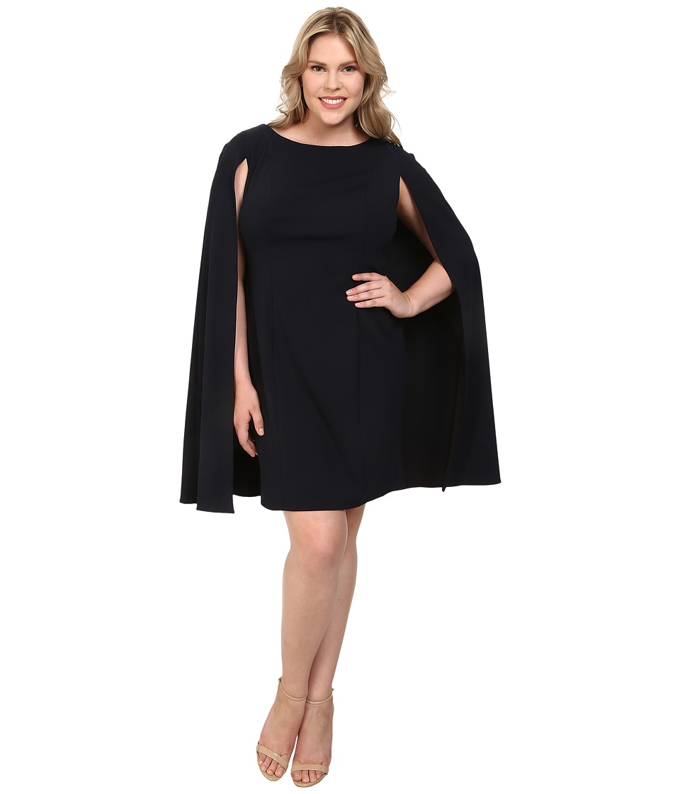 Adrianna Papell - Plus Size Structured Cape Sheath Dress (Navy/Ivory) Women's Dress