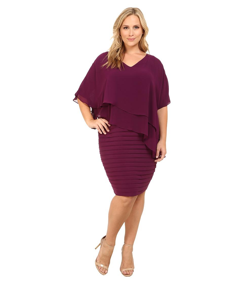 Adrianna Papell - Plus Size Layered Chiffon Caplet Band Matte Jersey Dress (Wine) Women's Dress