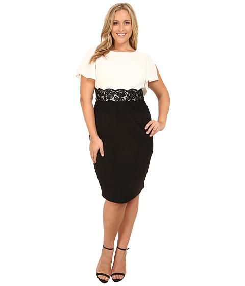 Adrianna Papell - Plus Size Flutter Sleeve Lace Midriff Sheath Dress (Ivory/Black) Women's Dress