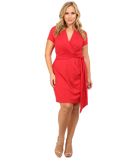 Adrianna Papell - Plus Size Short Sleeve Wrap Dress (Paradise Pink) Women