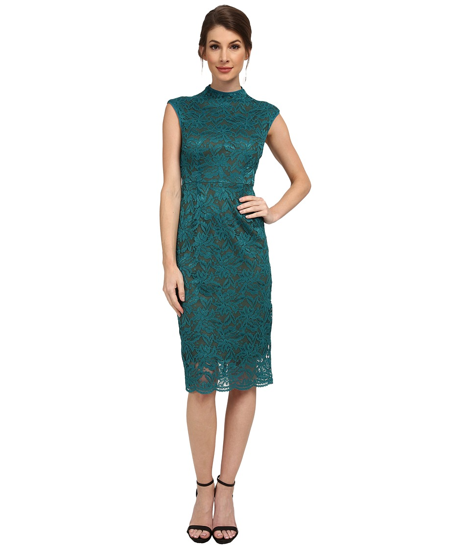 KUT from the Kloth - Kiera Lace Midi Dress (Teal/Dark Olive) Women's Dress
