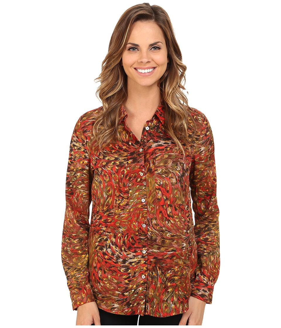 KUT from the Kloth - Nora Top (Baked Apple) Women's Long Sleeve Button Up