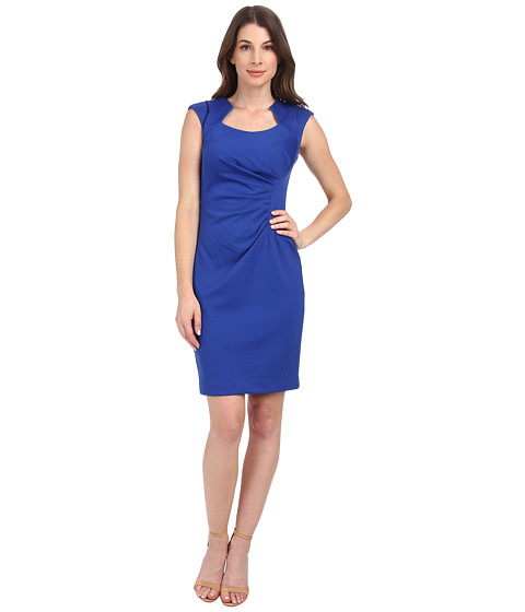 Calvin Klein - Horse Show Neck Ponte Sheath Dress (Atlantis) Women's Dress