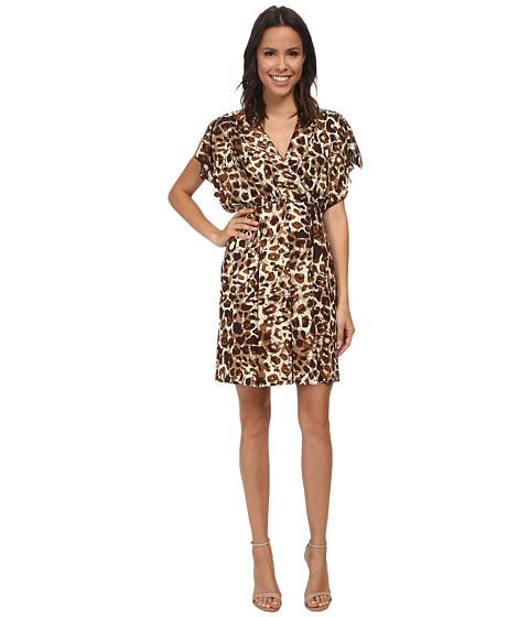 Calvin Klein - Printed Dress w/ Cascading Sleeves (Brown) Women's Dress