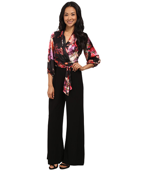 Adrianna Papell - Gathered Sleeve Tie Waist Jumpsuit (Black Multi) Women's Jumpsuit & Rompers One Piece