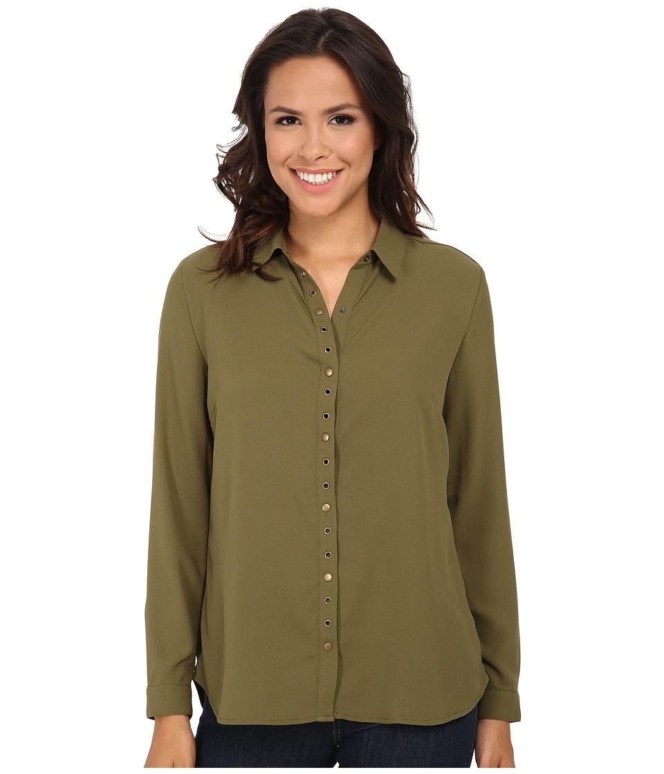 KUT from the Kloth - Lexi Top (Fir Green) Women's Long Sleeve Button Up
