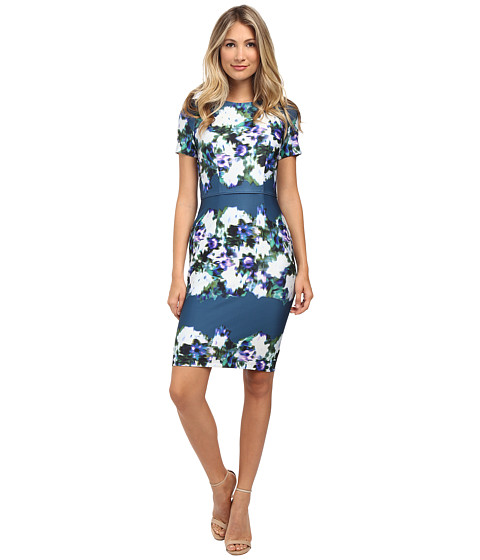 Adrianna Papell - Printed Scuba Sheath Dress (Teal Multi) Women's Dress