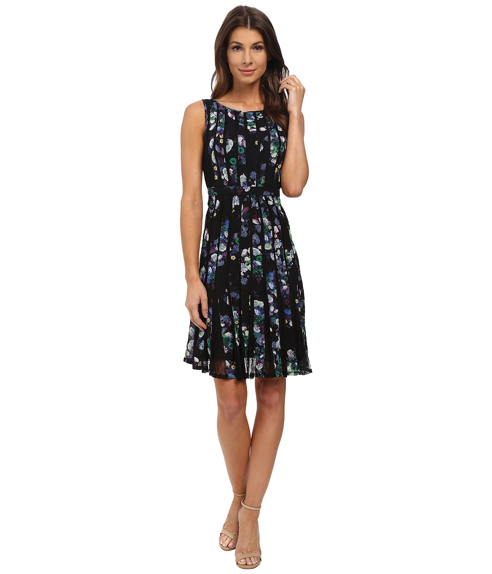 Adrianna Papell - Fractured Floral Printed Dress w/ Lace (Blue Multi) Women
