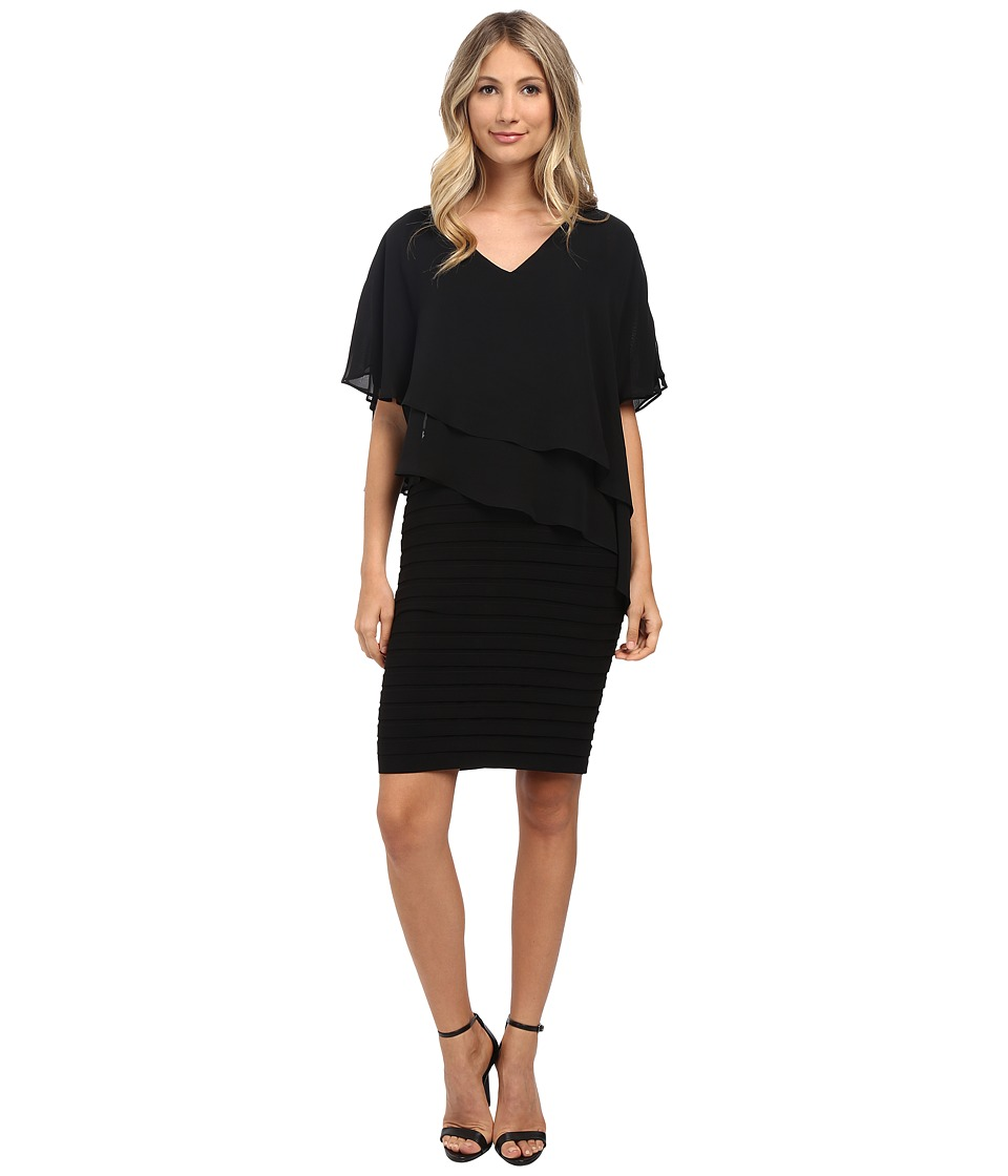 Adrianna Papell - Layered Chiffon Capelet Banded Dress (Black) Women's Dress
