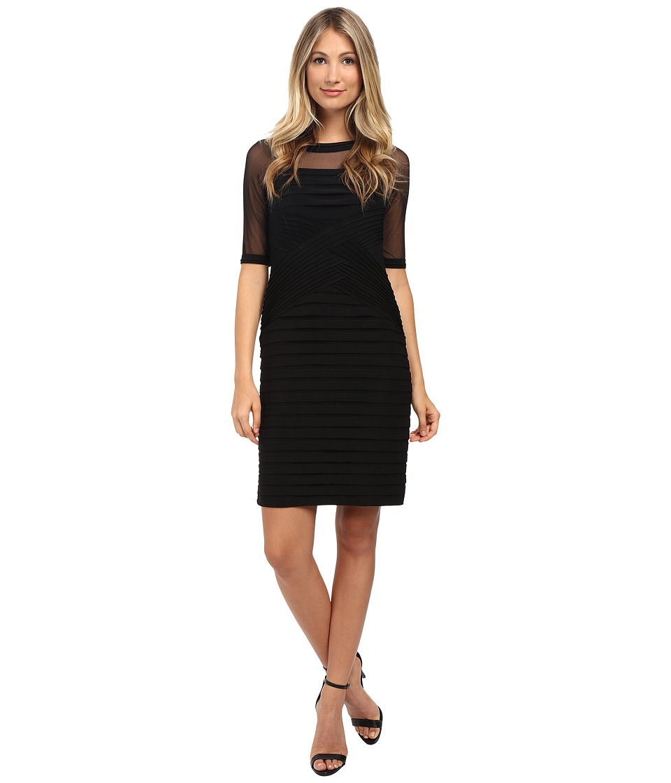 Adrianna Papell - Partial Pintucked Banded Dress (Black) Women's Dress