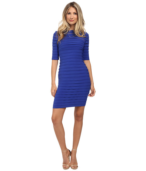 Adrianna Papell - Partial Tuck 3/4 Sleeve Dress (Royal) Women