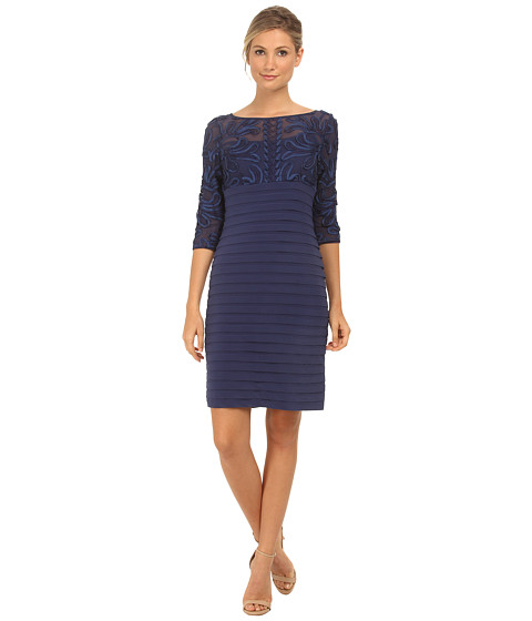 Adrianna Papell - Passementary Emb Banded Dress (Admiral) Women