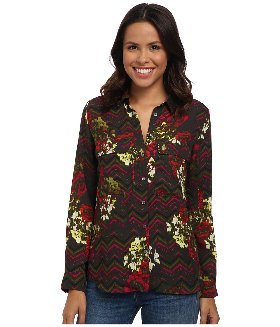 KUT from the Kloth - Nora Top (Pavement) Women's Long Sleeve Button Up