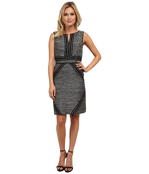 Adrianna Papell - Tweed Dress w/ Tipping Detail (Black/Ivory) Women