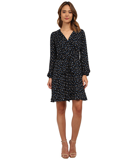 Adrianna Papell - Printed Wrap Dress (Blue Multi) Women's Dress