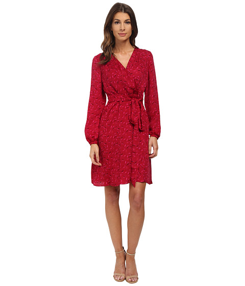 Adrianna Papell - Printed Wrap Dress (Red Multi) Women's Dress