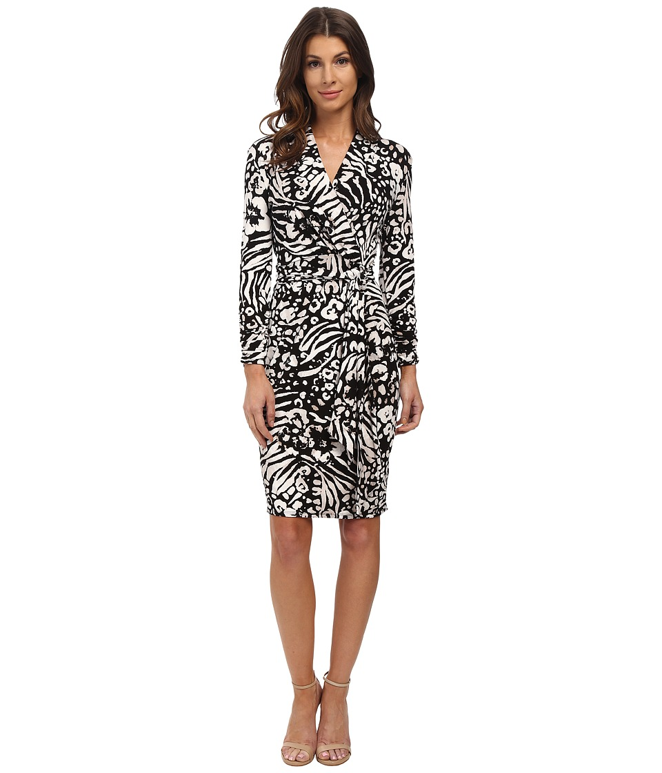 Adrianna Papell - Printed 3/4 Sleeve Wrap Dress (Black/Ivory) Women's Dress