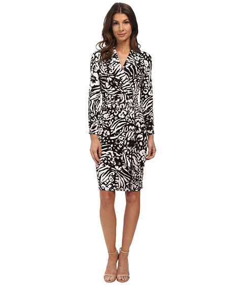 Adrianna Papell - Printed 3/4 Sleeve Wrap Dress (Black/Ivory) Women