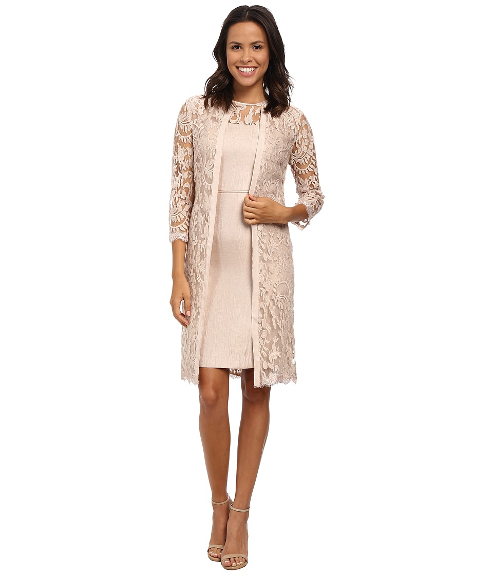 Adrianna Papell - Lace Yoke Shimmer Sheath Jacket (Jute) Women's Dress