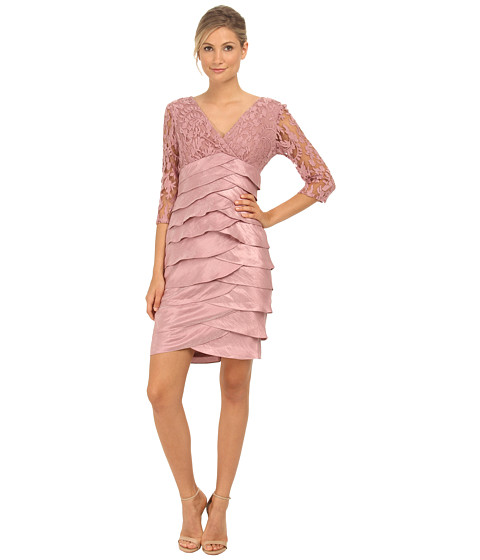 Adrianna Papell - Shimmer Shutter Tuck Lace Dress (Ash Rose) Women
