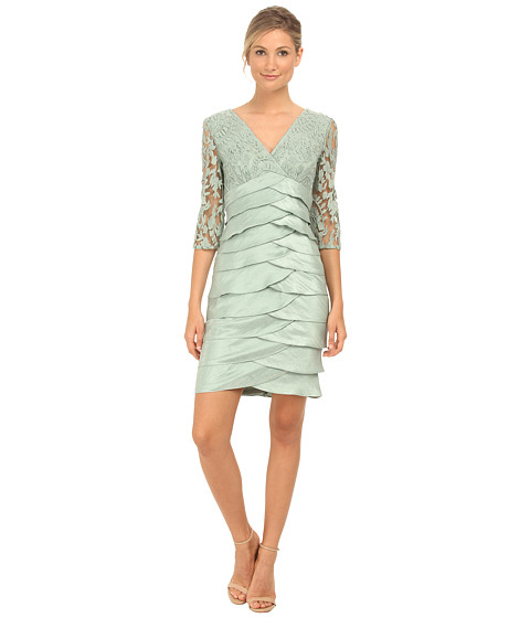 Adrianna Papell - Shimmer Shutter Tuck Lace Dress (Celadon) Women